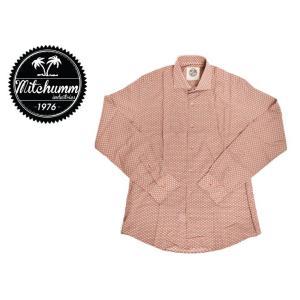 ワケあり-504 MITCHUMM(ミッチュム) Vintage-Little Light Blue Rombs on Light Bordeaux Cotton shirts 長袖シャツ サイズ:41 ※左脇下、左胸部分縫製不良※ delicious-y
