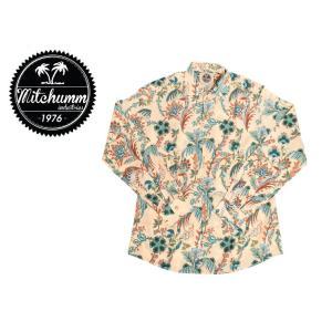 ワケあり-505 MITCHUMM(ミッチュム) Liberty Big Japan Trees on Dark Cream Cotton shirts 長袖シャツ サイズ:41 ※1箇所ボタンホール縫製不良※ delicious-y