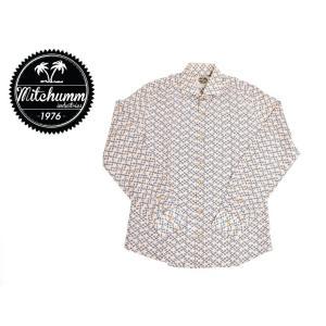 ワケあり-506 MITCHUMM(ミッチュム)Object-Scissors Cotton shirts 長袖シャツ サイズ:39 ※前身ごろほつれあり※ delicious-y