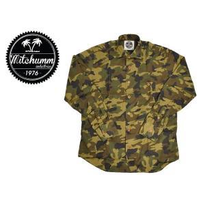ワケあり-518 MITCHUMM(ミッチュム)Camouflage Cotton shirts 長袖シャツ サイズ:41 ※左袖ヨゴレあり、右カフス難あり※ delicious-y