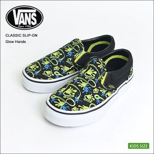VANS KIDS バンズ キッズ VN0A32QINER CLASSIC SLIP-ON GLOW HANDS Black Lime Punch クラシックスリッポン 子供用スニーカー 2017|delicious-y