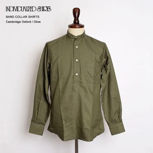 INDIVIDUALIZED SHIRTS インディビジュアライズドシャツ I12AOO-H BAND COLLAR L/S Cambridge Oxford Olive バンドカラー 長袖シャツ|delicious-y