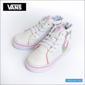 VANS KIDS HO'17 バンズ キッズ VN0A32R3QR1 TODOLLER SK8-HI ZIP (Unicorn) Rainbow/White Glitter トドラー スケートハイジップ ユニコーン 幼児用スニーカー|delicious-y