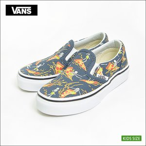 VANS KIDS バンズ キッズ VN0A32QIR5K CLASSIC SLIP-ON Pizza Surf Vintage Indigo/True White クラシックスリッポン ホワイト 子供 スニーカー|delicious-y
