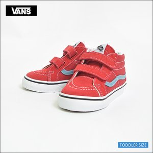 VANS TODDLER SP'18 バンズ トドラー VN0A348JQ8C SK8-MID REISSUE V Rococco Red/Adriatic Blue スケートハイ レッド ブルー  幼児用スニーカー|delicious-y