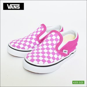 VANS KIDS SP'18 バンズ キッズ VN0A32QIQ6T CLASSIC SLIP-ON (Checkerboard) Raspberry Rose クラシックスリッポン チェッカーボード 子供 スニーカー|delicious-y