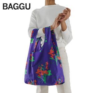 メール便 BAGGU バッグ STANDARD スタンダード BLUE SWEET PEA 花柄 フラワー パープル 紫 エコバッグ ナイロンバッグ ショッピングバッグ トートバッグ delicious-y