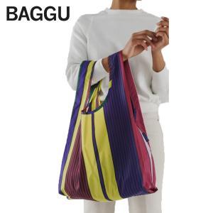 メール便 BAGGU バッグ STANDARD スタンダード SCARF STRIPE ストライプ マルチカラー エコバッグ ナイロンバッグ ショッピングバッグ トートバッグ|delicious-y