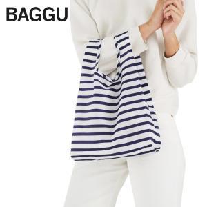 メール便 BABY BAGGU ベビー バッグ【Sailor Stripe】セーラー ストライプ ブルー ホワイト エコバッグ ナイロンバッグ ショッピングバッグ トートバッグ ギフト|delicious-y