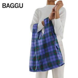 メール便 BAGGU バッグ STANDARD スタンダード【Blue Tartan】タータン ブルー エコバッグ ナイロンバッグ ショッピングバッグ トートバッグ ギフト 景品|delicious-y