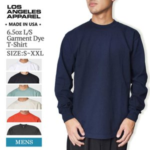LOS ANGELES APPAREL ロサンゼルス アパレル LA APPAREL 1807GD 6.5oz L/S Garment Dye T-Shirt メンズ 長袖 Tシャツ 無地T MADE IN USA|delicious-y