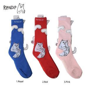 メール便 RIPNDIP HO18 リップンディップ RND2820 2816 2819 LORD NERMAL SOCKS  ROYAL RED PINK 靴下 インナーソックス 猫 CAT 青 赤 ピンク ユニセックス|delicious-y