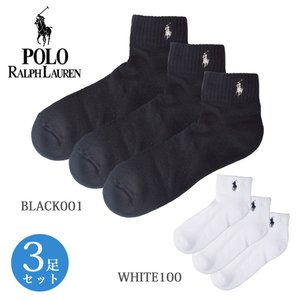 Polo Ralph Lauren ポロ ラルフ ローレン Cushion Sole Mesh Top Quarter 3Pack 7340PK BLACK  レディース 靴下 3足セット|delicious-y