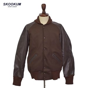 SKOOKUM スクーカム STADIUM JACKET MELTON BROWN LEATHER RAGLAN BROWN スタジアム ジャケット スタジャン レザー BROWN BROWN|delicious-y