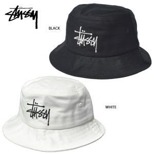メール便 STUSSY ステューシー 132942 BIG LOGO BUCKET HAT BLACK WHITE ブラック ホワイト 帽子 ハット バケツハット|delicious-y