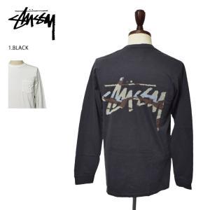 メール便 STUSSY ステューシー 1954366 Camo Stock BLACK NATURAL 長袖TEEロンT ロングスリーブ|delicious-y