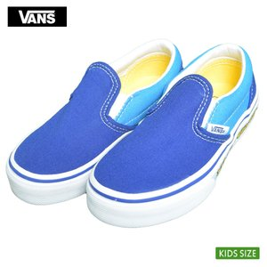 VANS KIDS バンズ キッズ VN0A4BUTXNM CLASSIC SLIP-ON  (V Arcade) Dresden Blue/True White クラシックスリッポン ブルー ホワイト 子供 靴|delicious-y