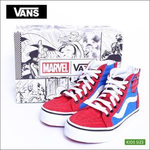 VANS KIDS SP'18 バンズ キッズ VN0A3276U4I SK8-HI ZIP (Marvel) Spider-Man/True White スケートハイジップ マーベル スパーダーマン  子供 スニーカー|delicious-y