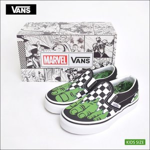 VANS KIDS FA'18 バンズ キッズ VN0A32QIU44 CLASSIC SLIP-ON Marvel Hulk/Checkerboard クラシックスリッポン 子供 スニーカー|delicious-y