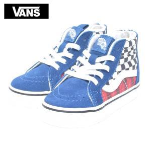 VANS TODDLER バンズ トドラー VN0A4BV1V3G SK8-HI ZIP Plaid Checkerboard True Blue/Racing Red  幼児用スニーカー 靴|delicious-y