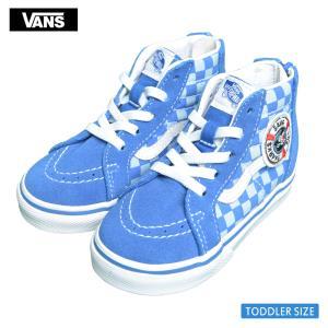 VANS TODDLER バンズ トドラー VN0A4BV1V3V SK8-HI ZIP Shark Week Blue True White スケートハイジップ ブルー ホワイト チェッカーボード 幼児用スニーカー 靴|delicious-y