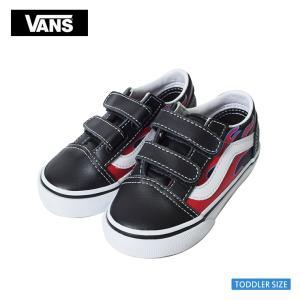 VANS TODDLER バンズ トドラー VN0A344KVIS オールドスクールV レッド ブラック 幼児用スニーカー 靴 ベルクロ|delicious-y