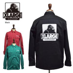 X-LARGE エクストララージ【1193401】L/S OG WORK SHIRT  ブラック マゼンタ ダークグリーン メンズ 長袖 シャツ ワークシャツ X LARGE ラージ エックスラージ|delicious-y