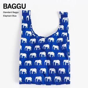 メール便 BAGGU バッグ STANDARD スタンダード ELEPHANT BLUE ゾウ柄 エコバッグ ナイロンバッグ ショッピングバッグ トートバッグ|deliciousy2