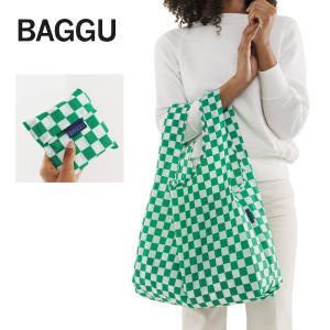 メール便 BAGGU バッグ STANDARD スタンダード Green Checkerboard チェック グリーン ホワイト エコバッグ ショッピングバッグ ギフト 景品 プレゼント|deliciousy2