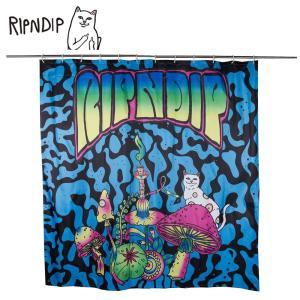 RIPN DIP リップンディップ Psychedelic Shower Curtain RND2325PSY Multi シャワーカーテン バス用品 ユニットバス ブルー ブラック 猫 CAT 雑貨 かわいい ネコ deliciousy2