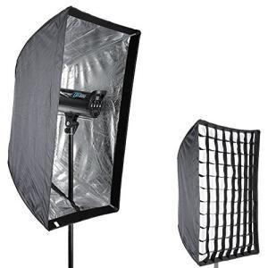 Neewer 60x90cmソフトボックス 長方形 グリッド付 肖像画 製品写真 ビデオ撮影に対応