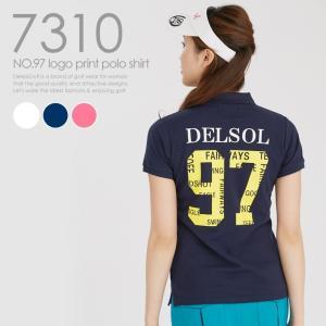NO.97ロゴプリントポロシャツ 人気 レディースゴルフウェア
