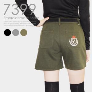 刺繍入りキュロット 大人女子 美脚 大きいサイズ レディースゴルフウェア delsol-golf