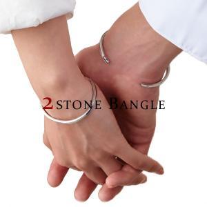 誕生石 2ストーン バングル シルバーカラー / カップルでペアやプレゼントに最適 / ブレスレット / APB0204 / ステンレス|deluxe