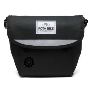POTA BIKE(ポタバイク) セミハードフロントバッグ for ミニベロ ブラック生地/黒マーク|denden|03