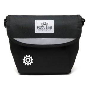 POTA BIKE(ポタバイク) セミハードフロントバッグ for ミニベロ ブラック生地/黒マーク|denden|04