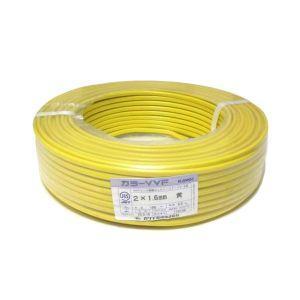 カワイ電線 カラーVVFケーブル 600Vビニル絶縁ビニルシースケーブル 1.6mm 2心 100m巻 黄色 VVF1.6×2C×100mキ|dendenichiba