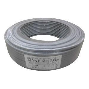 菅波電線 VVFケーブル 600V ビニル絶縁ビニルシースケーブル平形 1.6mm 2心 100m巻 灰色 VVF1.6×2C×100m