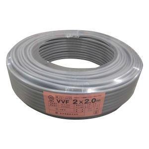 菅波電線 VVFケーブル 600V ビニル絶縁ビニルシースケーブル平形 2.0mm 2心 100m巻 灰色 VVF2.0×2C×100m