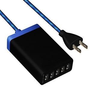 藤本電業 イルミネーションAC充電器 USB5ポート 最大合計6.5A ブラック CA-05BK