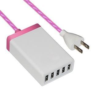藤本電業 イルミネーションAC充電器 USB5ポート 最大合計6.5A ピンク CA-05PK