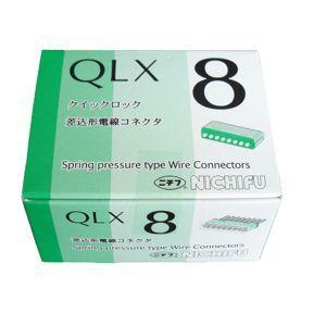 ニチフ クイックロック 差込形電線コネクター 極数8 緑透明 (1ケース20個入) QLX8 dendenichiba