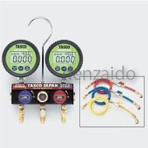 タスコ R404A/R407C/R134aボールバルブ式デジタルゲージマニホールドバルブ付チャージホース仕様キット 150cm TA124DWV-2