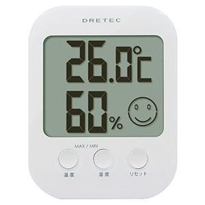 ドリテック デジタル温湿度計 オプシス 快適度5段階表示機能付 ホワイト O-230WT|dendenichiba