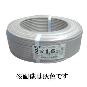 富士電線 カラーVVFケーブル 1.6mm×2心×100m巻き (赤) VVF1.6×2C×100m|dendenichiba