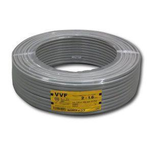テイコク VVFケーブル 600Vビニル絶縁ビニルシースケーブル 平形 1.6mm 2心 100m巻 灰色 VVF1.6×2C×100m|dendenichiba