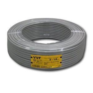 テイコク お買い得品 2巻セット VVFケーブル 600Vビニル絶縁ビニルシースケーブル 平形 1.6mm 2心 100m巻 灰色 VVF1.6×2C×100m_2set|dendenichiba
