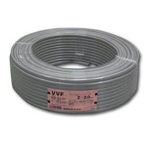テイコク VVFケーブル 600Vビニル絶縁ビニルシースケーブル 平形 2.0mm 2心 100m巻 灰色 VVF2.0×2C×100m