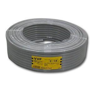 テイコク VVFケーブル 600Vビニル絶縁ビニルシースケーブル 平形 1.6mm 3心 100m巻 灰色 VVF1.6×3C×100m