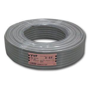 テイコク VVFケーブル 600Vビニル絶縁ビニルシースケーブル 平形 2.0mm 3心 100m巻 灰色 VVF2.0×3C×100m